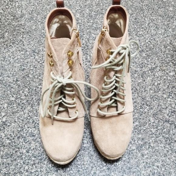 Michael Kors Shoes - Michael Kors suede wedge booties hemp heel sz 7.5